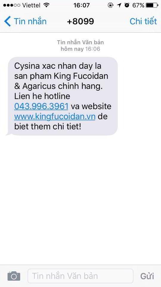 tin nhắn xác nhận fuocoidan nhật bản chính hãng